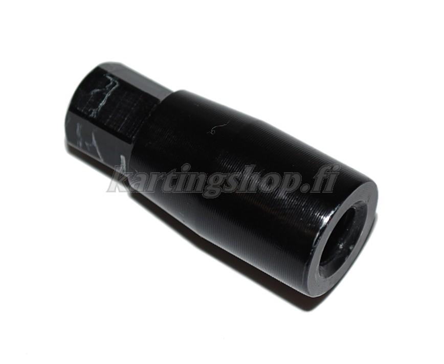 Pitkämutteri M8, 10mm kuusio kannalla, eloksoitua alumiinia, musta