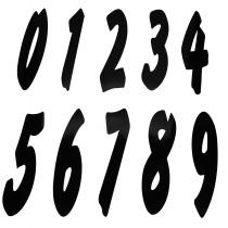 Numerot 0-9 musta