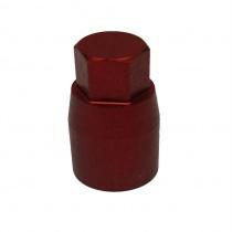 Pitkämutteri M8, 10mm kuusio kannalla, eloksoitua alumiinia ,punainen