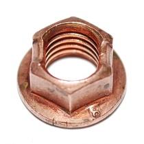 Kuparilaippamutteri M8, 10mm avaimelle, kuparoitua terästä